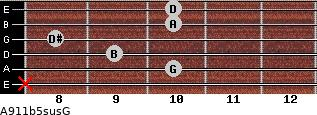 A9/11b5sus/G for guitar on frets x, 10, 9, 8, 10, 10
