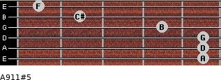 A9/11#5 for guitar on frets 5, 5, 5, 4, 2, 1