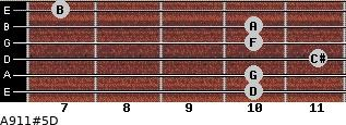 A9/11#5/D for guitar on frets 10, 10, 11, 10, 10, 7