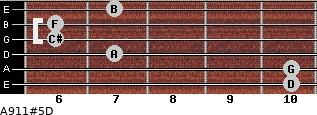 A9/11#5/D for guitar on frets 10, 10, 7, 6, 6, 7