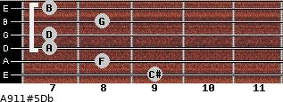 A9/11#5/Db for guitar on frets 9, 8, 7, 7, 8, 7