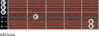 A9/11sus for guitar on frets 5, 5, 2, 0, 0, 0