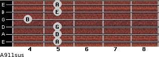 A9/11sus for guitar on frets 5, 5, 5, 4, 5, 5