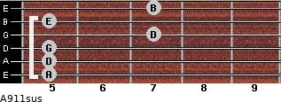 A9/11sus for guitar on frets 5, 5, 5, 7, 5, 7
