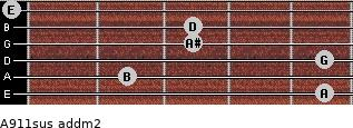 A9/11sus add(m2) for guitar on frets 5, 2, 5, 3, 3, 0