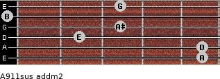 A9/11sus add(m2) for guitar on frets 5, 5, 2, 3, 0, 3