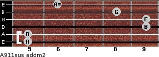 A9/11sus add(m2) for guitar on frets 5, 5, 9, 9, 8, 6