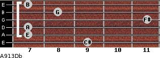 A9/13/Db for guitar on frets 9, 7, 7, 11, 8, 7