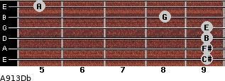 A9/13/Db for guitar on frets 9, 9, 9, 9, 8, 5