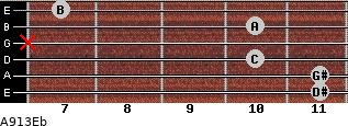 Aº9\13\Eb for guitar on frets 11, 11, 10, x, 10, 7
