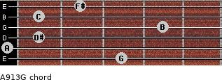 Aº9/13/G for guitar on frets 3, 0, 1, 4, 1, 2