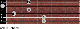 Aº9/13/G for guitar on frets 3, 3, 1, 2, 0, 2