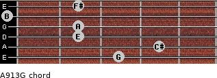 A9/13/G for guitar on frets 3, 4, 2, 2, 0, 2