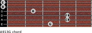 A9/13/G for guitar on frets 3, 4, 4, 2, 0, 0