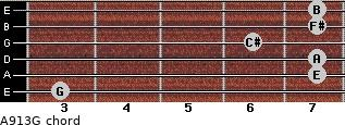 A9/13/G for guitar on frets 3, 7, 7, 6, 7, 7