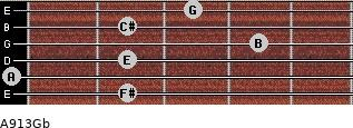 A9/13/Gb for guitar on frets 2, 0, 2, 4, 2, 3