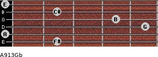 A9/13/Gb for guitar on frets 2, 0, 5, 4, 2, 0