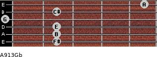 A9/13/Gb for guitar on frets 2, 2, 2, 0, 2, 5