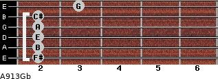 A9/13/Gb for guitar on frets 2, 2, 2, 2, 2, 3