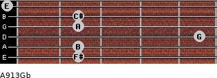 A9/13/Gb for guitar on frets 2, 2, 5, 2, 2, 0