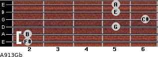A9/13/Gb for guitar on frets 2, 2, 5, 6, 5, 5