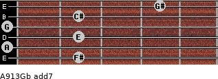 A9/13/Gb add(7) for guitar on frets 2, 0, 2, 0, 2, 4