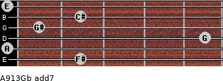 A9/13/Gb add(7) for guitar on frets 2, 0, 5, 1, 2, 0