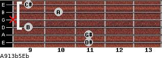 A9\13b5\Eb for guitar on frets 11, 11, 9, x, 10, 9