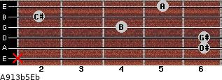 A9\13b5\Eb for guitar on frets x, 6, 6, 4, 2, 5