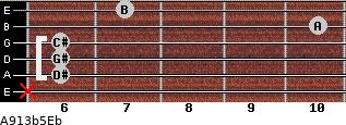 A9\13b5\Eb for guitar on frets x, 6, 6, 6, 10, 7