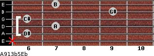 A9\13b5\Eb for guitar on frets x, 6, 7, 6, 9, 7