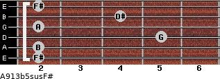 A9/13b5sus/F# for guitar on frets 2, 2, 5, 2, 4, 2