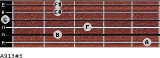 A9/13#5 for guitar on frets 5, 2, 3, 0, 2, 2