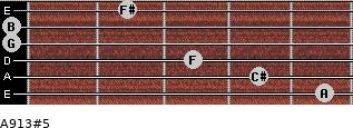 A9/13#5 for guitar on frets 5, 4, 3, 0, 0, 2