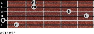 A9/13#5/F for guitar on frets 1, 0, 5, 4, 2, 2
