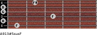 A9/13#5sus/F for guitar on frets 1, 0, 3, 0, 0, 2