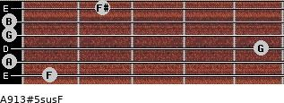 A9/13#5sus/F for guitar on frets 1, 0, 5, 0, 0, 2