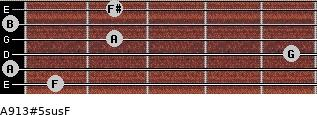 A9/13#5sus/F for guitar on frets 1, 0, 5, 2, 0, 2