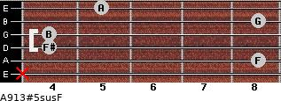 A9/13#5sus/F for guitar on frets x, 8, 4, 4, 8, 5