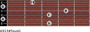 A9/13#5sus/G for guitar on frets 3, 0, 3, 4, 0, 2