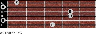 A9/13#5sus/G for guitar on frets 3, 0, 4, 4, 0, 1