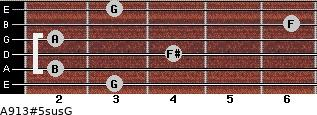 A9/13#5sus/G for guitar on frets 3, 2, 4, 2, 6, 3