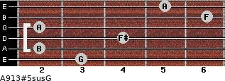 A9/13#5sus/G for guitar on frets 3, 2, 4, 2, 6, 5