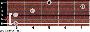 A9/13#5sus/G for guitar on frets 3, x, 3, 4, 7, 5