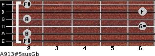 A9\13#5sus\Gb for guitar on frets 2, 2, 6, 2, 6, 2