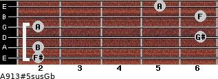A9\13#5sus\Gb for guitar on frets 2, 2, 6, 2, 6, 5