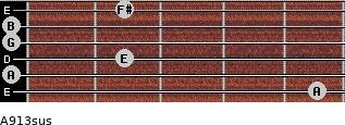 A9/13sus for guitar on frets 5, 0, 2, 0, 0, 2