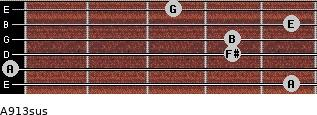 A9/13sus for guitar on frets 5, 0, 4, 4, 5, 3