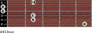 A9/13sus for guitar on frets 5, 2, 2, 0, 0, 2