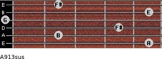 A9/13sus for guitar on frets 5, 2, 4, 0, 5, 2